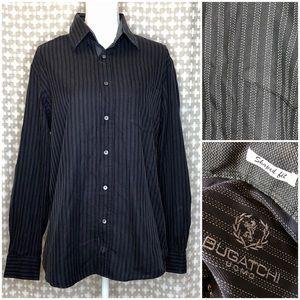 BUGATCHI Cotton Black Stripe Button Down Shirt L